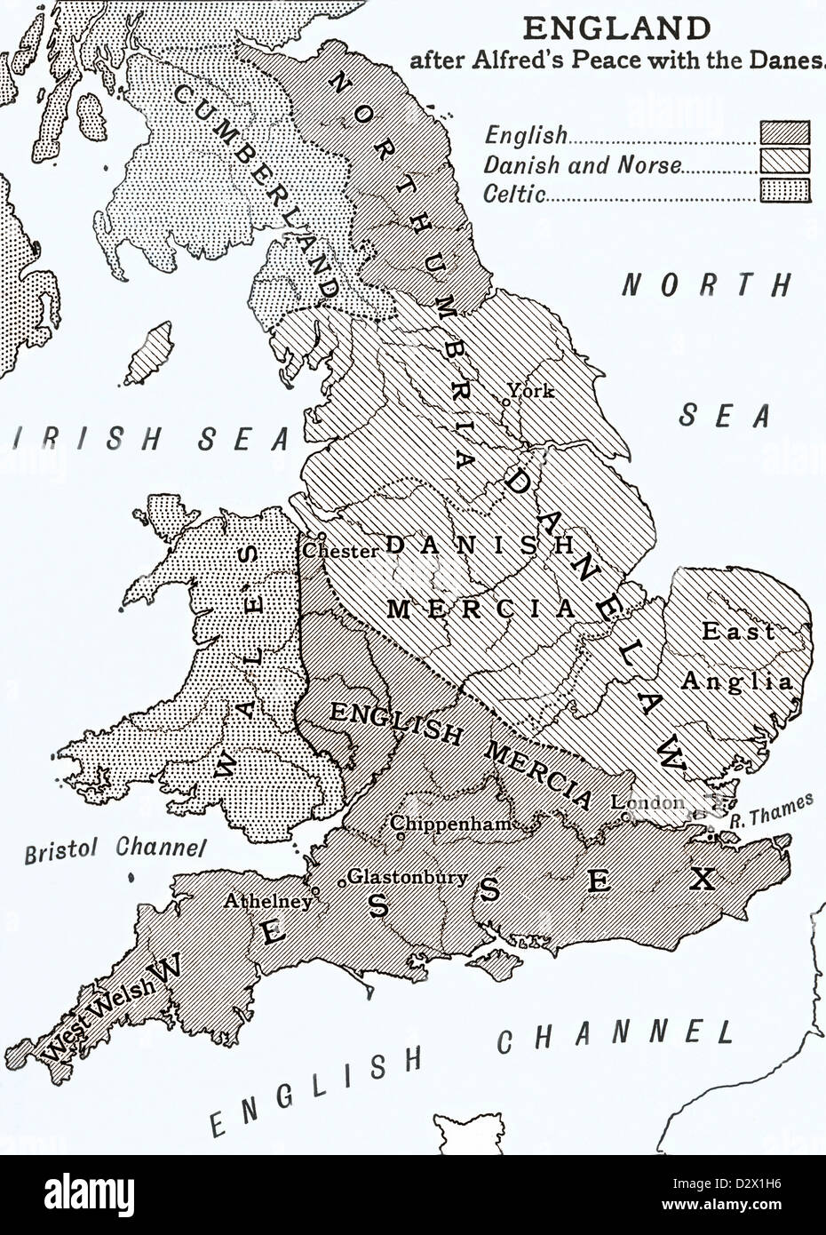 Map Of England In 9th Century.A Map Of England After King Alfred S Peace With The Danes In The 9th
