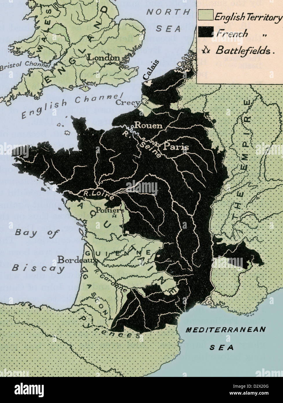 Map showing the English dominions in France after the Treaty of
