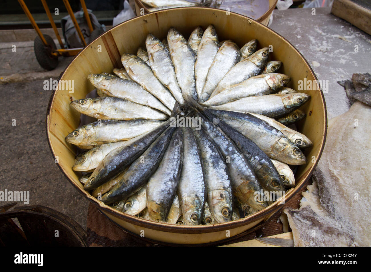 Fish Sardine Anchovies dried on sale local market Mallorca Balearic Spain - Stock Image