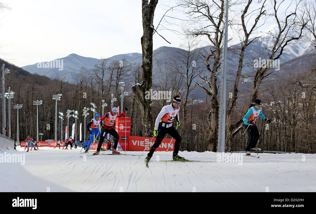 Athletes in action during the FIS Nordic Combined World Cup at the skiing area RusSki in Krasnaya Polyana near Sochi, - Stock Image