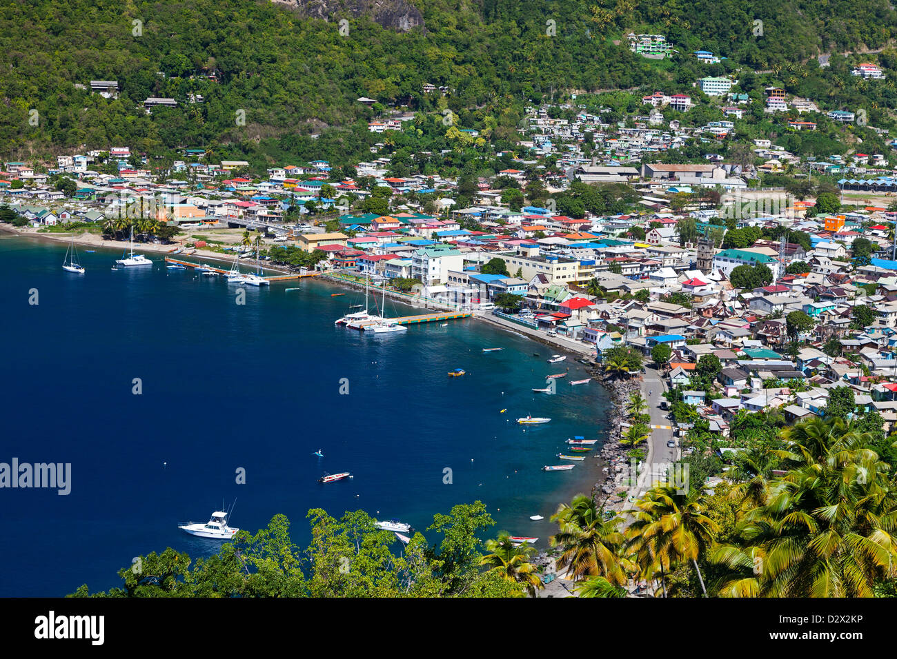 La Soufriere town and bay, St Lucia - Stock Image