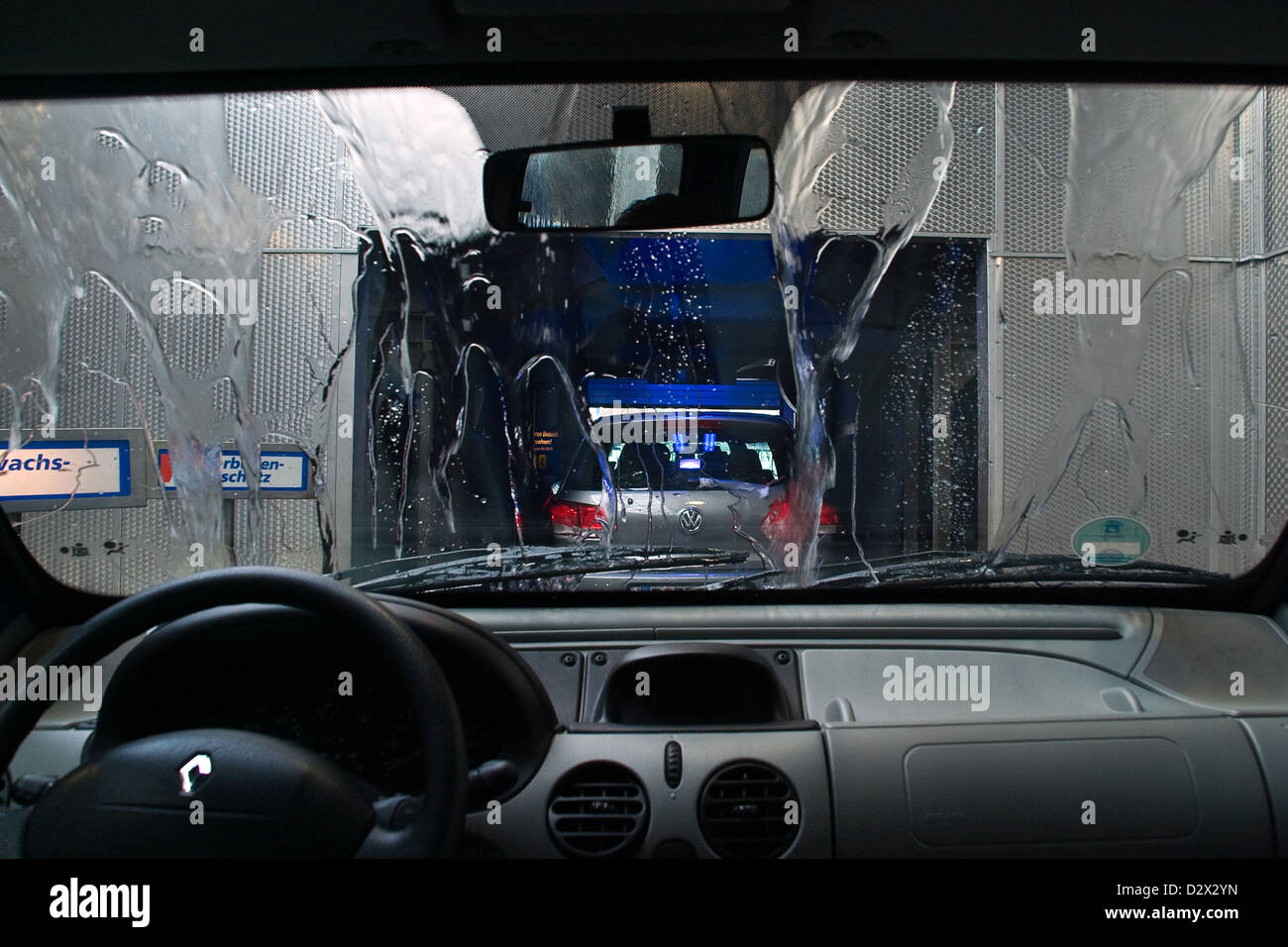 Berlin, Germany, a car drive through the car wash Stock