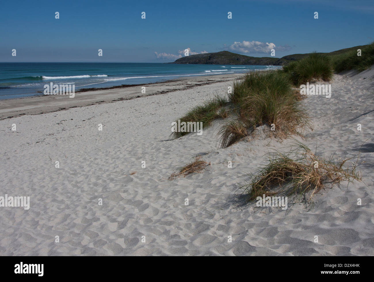 Sandy beach and dunes at Eiolgarry, Isle of Barra, Outer Hebrides, Western Isles, Scotland - Stock Image