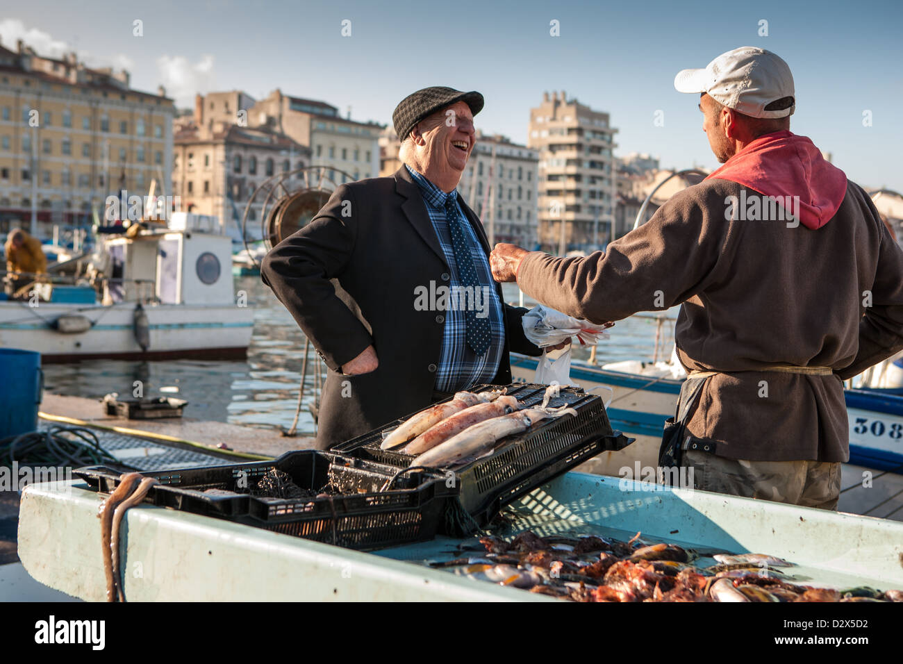 fish market in the old port, Marseille - Stock Image
