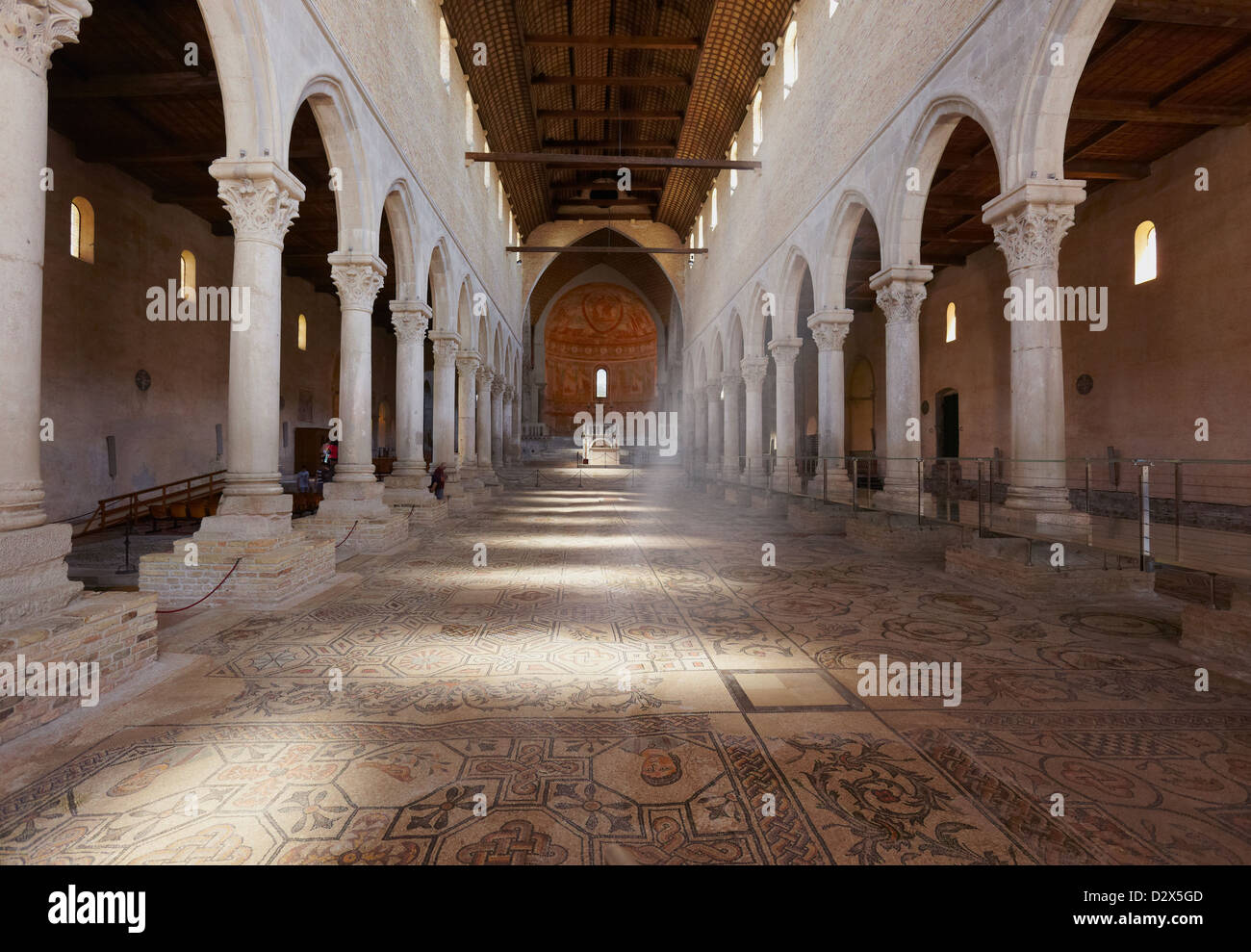 Glimpse of Central Nave of the Basilica of Santa Maria Assunta, Aquileia, Friuli-Venezia Giulia, Italy Stock Photo