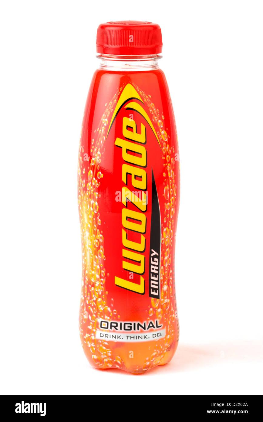 Bottle of Lucozade original energy drink, UK - Stock Image
