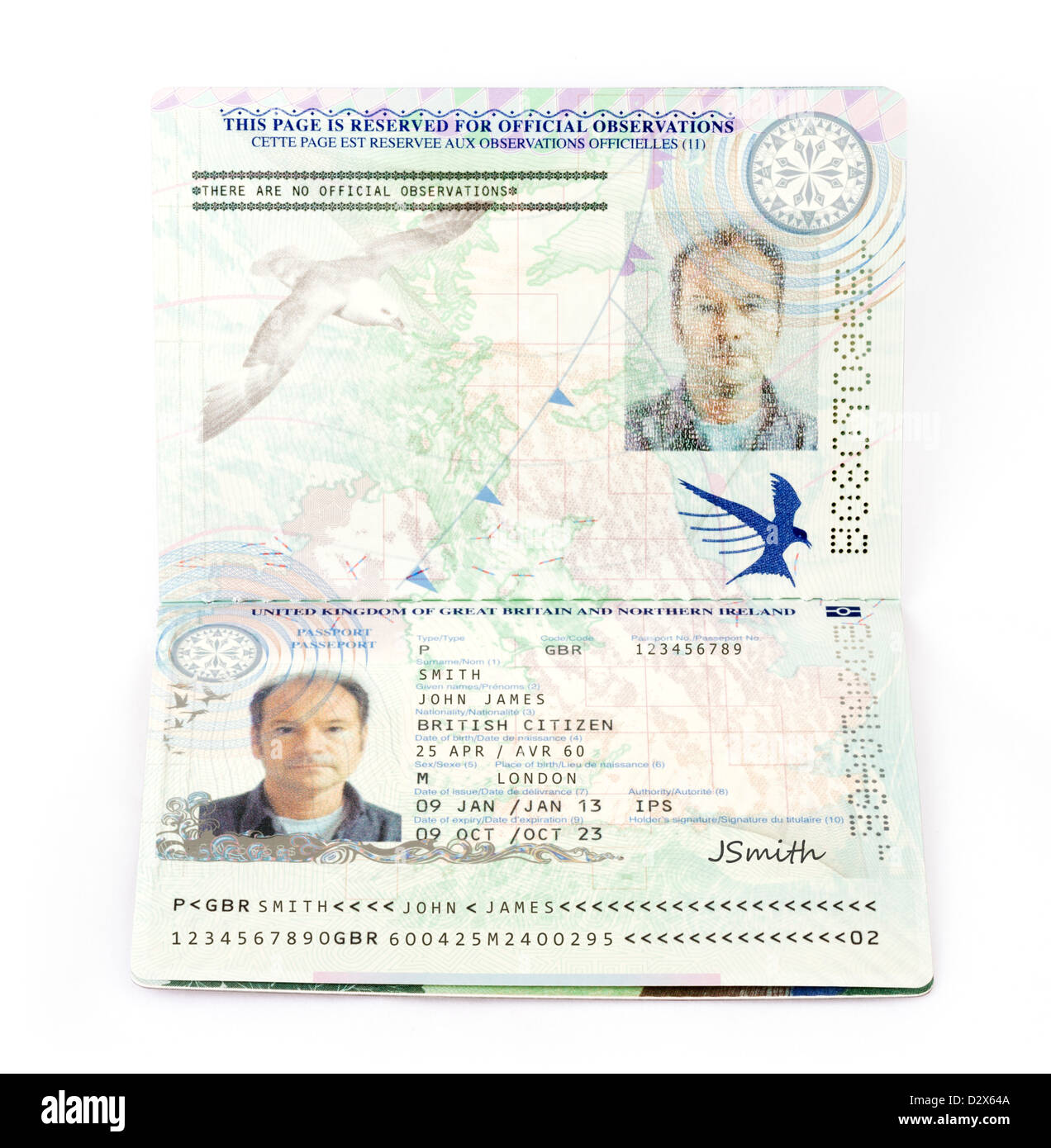 A 2013 European Union biometric passport for the United Kingdom (with fictitious details) - Stock Image
