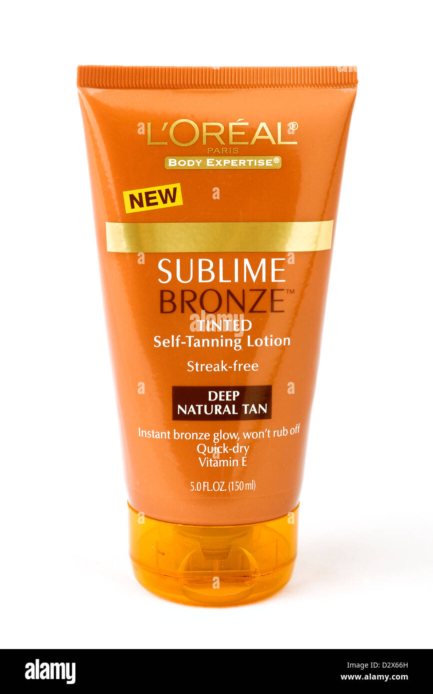 Tube of L'Oreal Sublime Bronze tinted self-tanning lotion - Stock Image