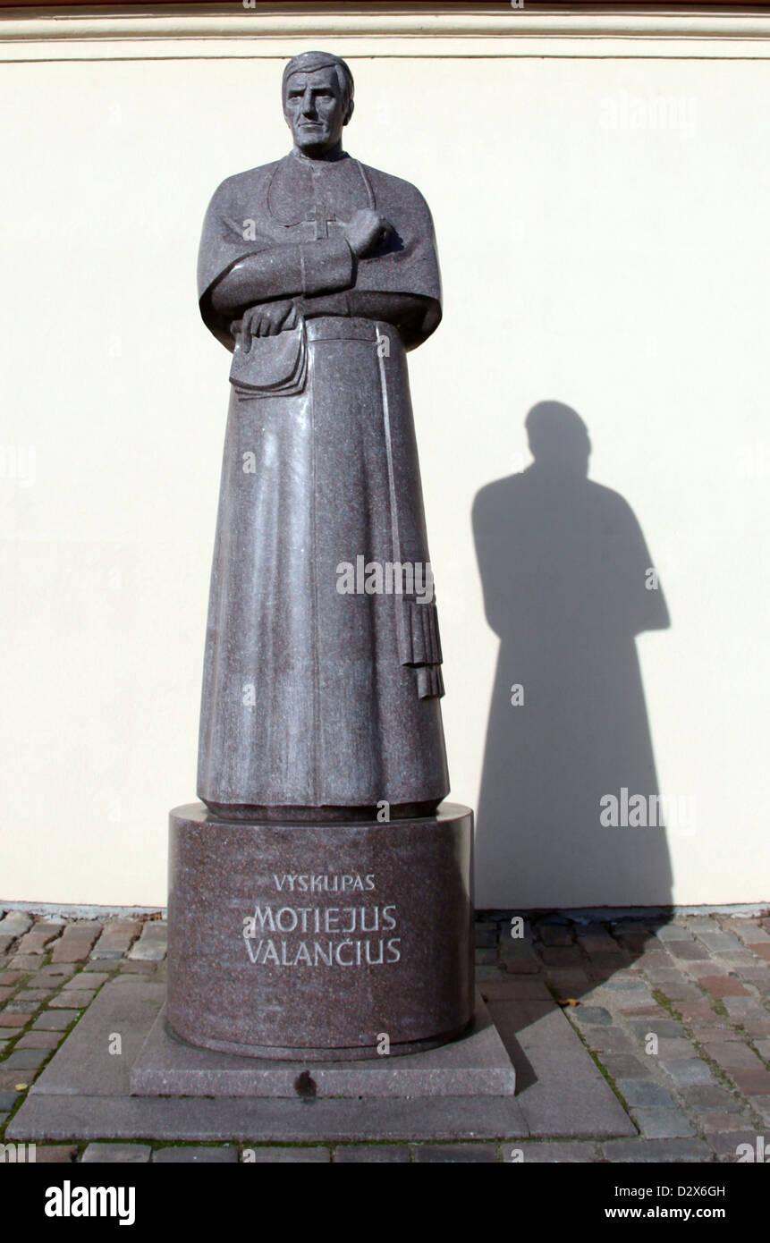 Statue of Motiejus Valancius in the Lithuanian City of Kaunas - Stock Image