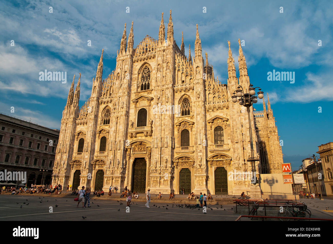 Duomo cathedral at sunset, Milan, Italy - Stock Image