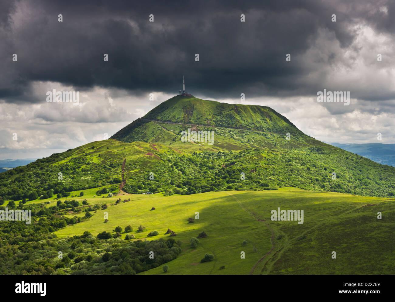 Puy-de-Dome Volcano from Puy de Pariou, Auvergne, France Stock Photo