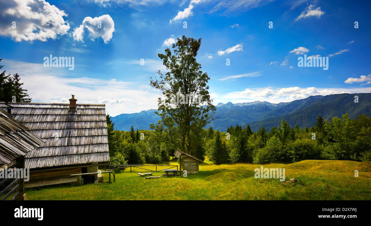 Typical Wooden house surrounded by mountains in Bohinj, Triglav National Park, Gorica region, Slovenia, Balkans - Stock Image