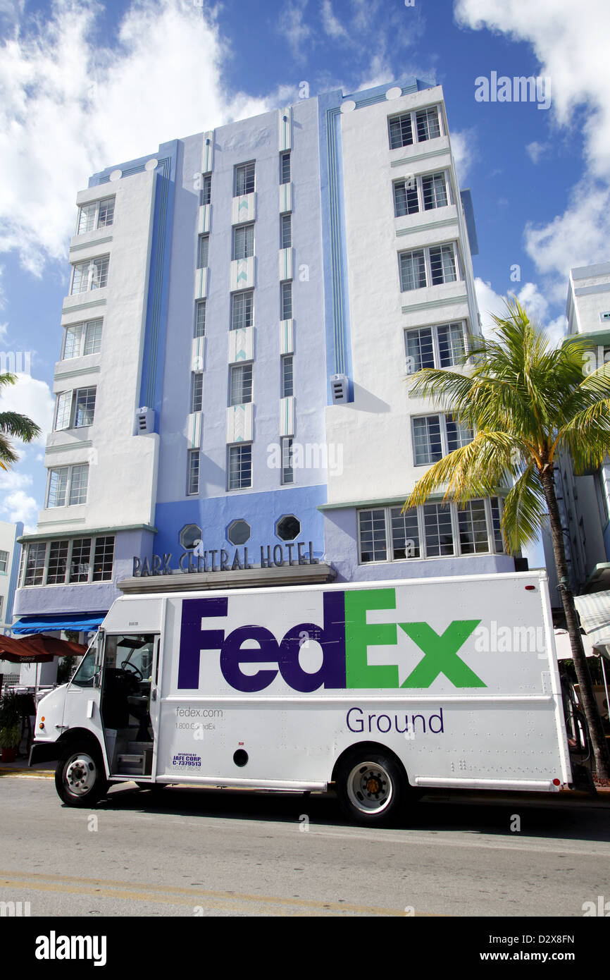 fedex ground truck ocean drive south beach miami florida usa