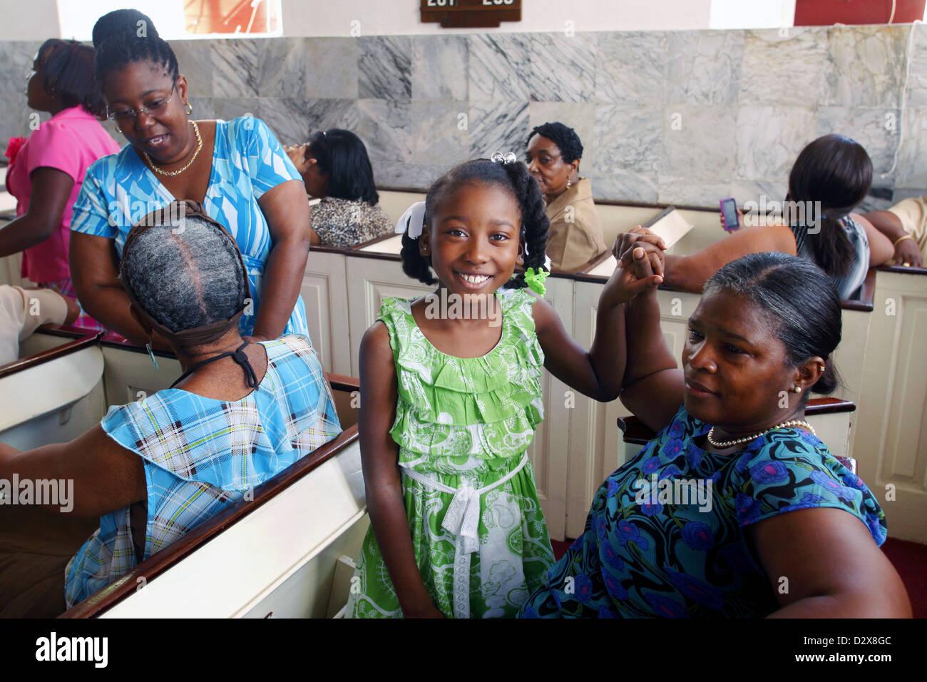 Before Sunday Mass, Frederick Evangelical Lutheran Church, Charlotte Amalie, St. Thomas, US Virgin Islands, Caribbean - Stock Image