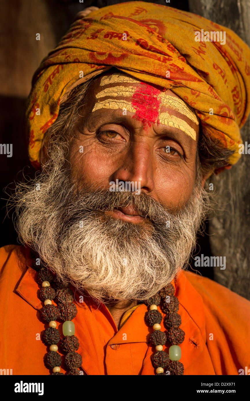 Portrait of Sadhu, holy man, Pashupatinath, Kathmandu, Nepal Stock Photo