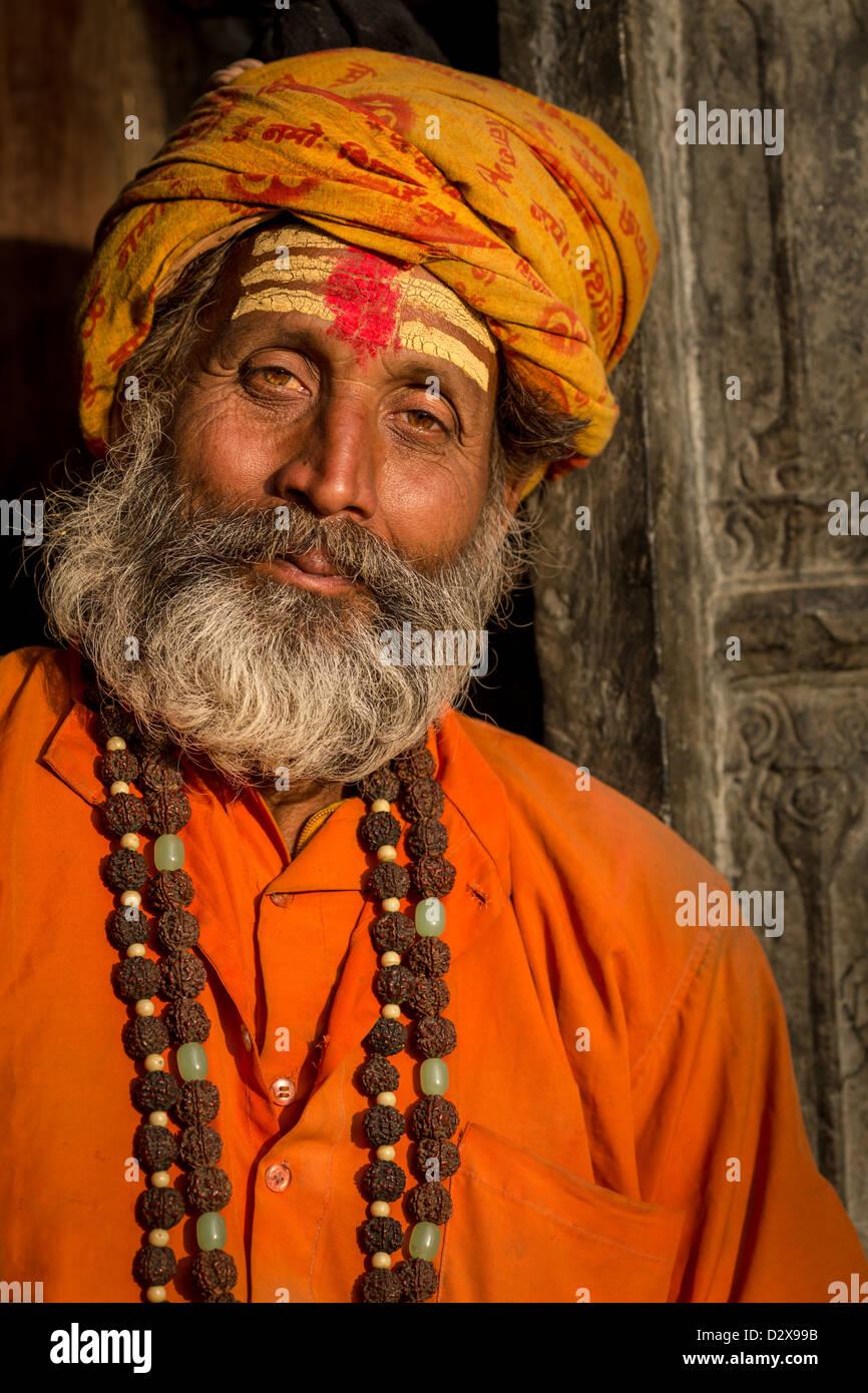 Portrait of Sadhu, holy man, Pashupatinath, Kathmandu, Nepal - Stock Image