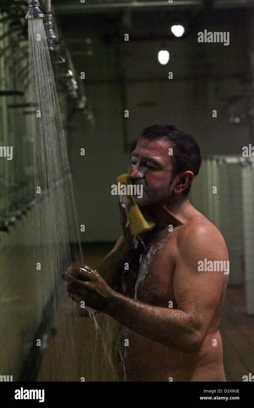 Tower Colliery miner Gwyn Major showers the coal dust from his body for the final time & 25.01.08. Tower Colliery miner Gwyn Major showers the coal dust from ...
