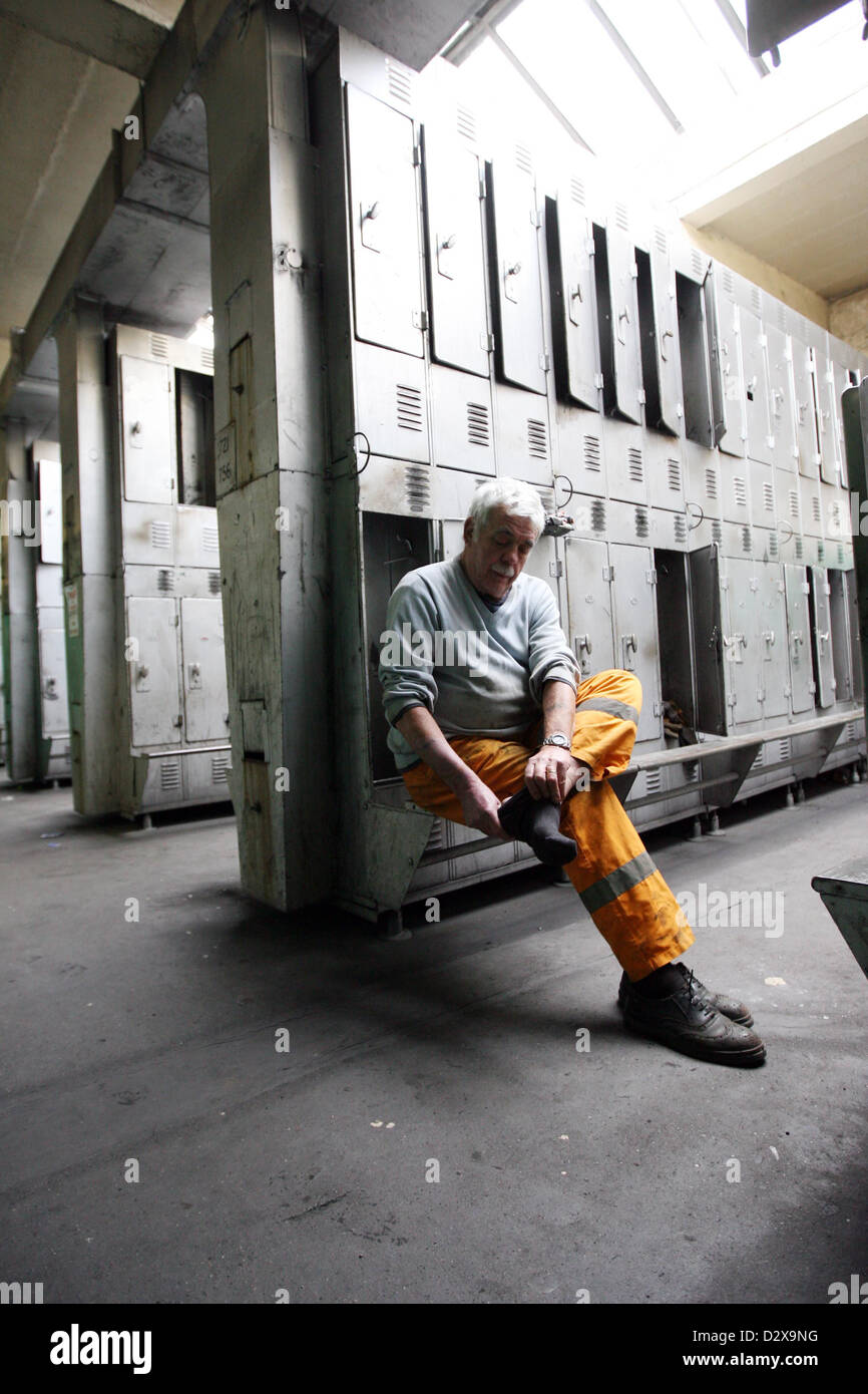 Miner Russell Williams dresses for his last shift at Tower Colliery which today (Friday) closed itu0027s doors for good. & Miner Russell Williams dresses for his last shift at Tower Colliery ...