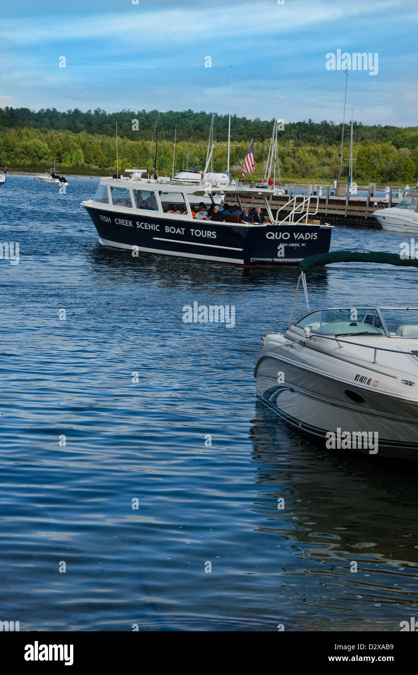 Scenic Boat Tours of Green Bay in the Door County town of Fish Creek Wisconsin - Stock Image