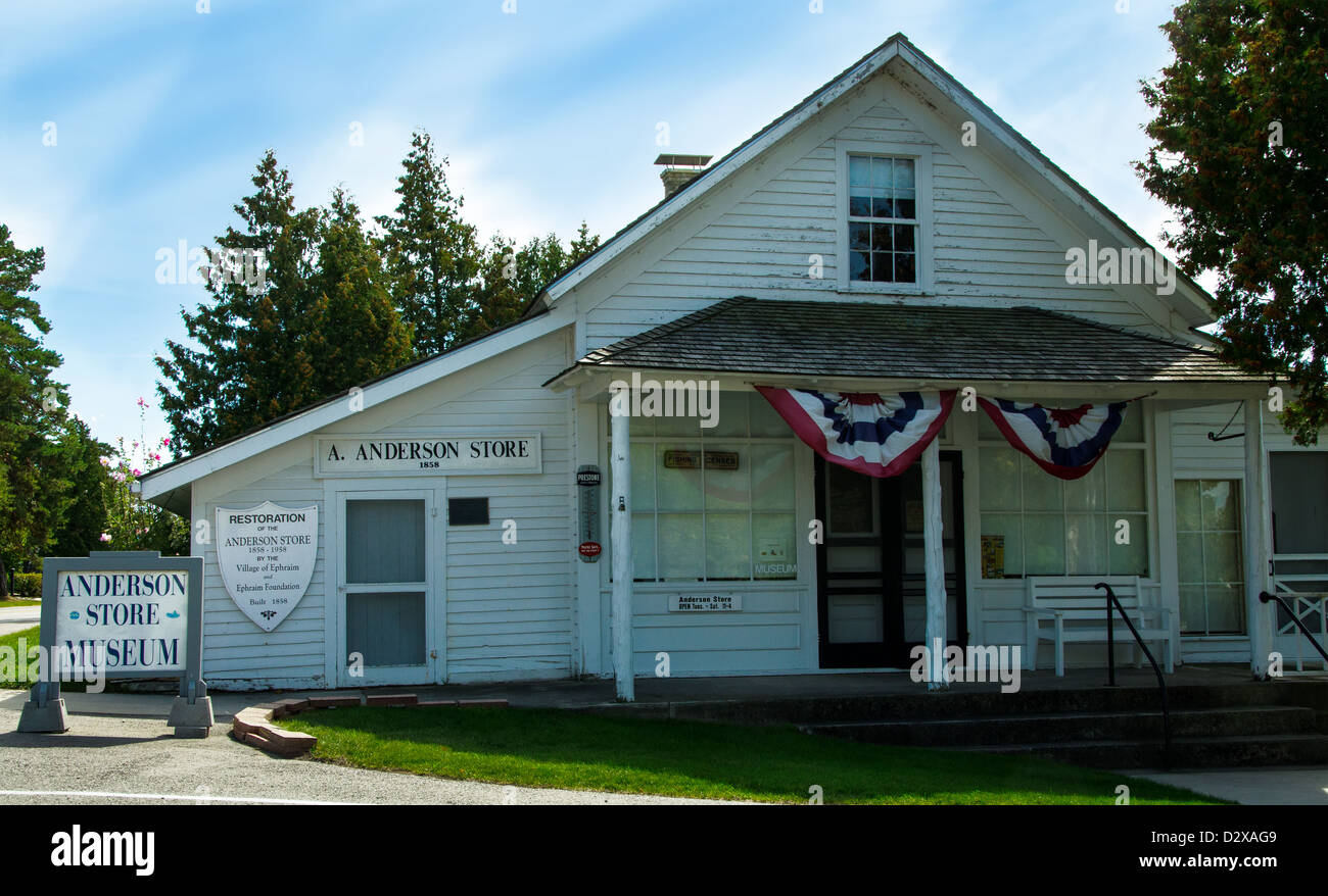 The historic  A. Anderson Store in the Door County town of Ephraim, Wisconsin - Stock Image