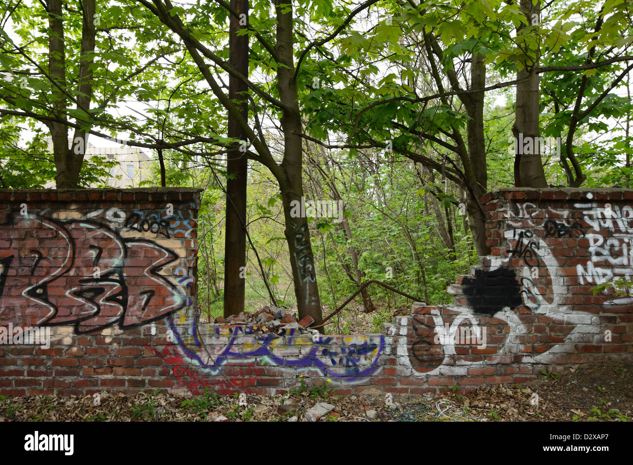 Berlin, Germany, in the broken wall Herzbergstrasse - Stock Image