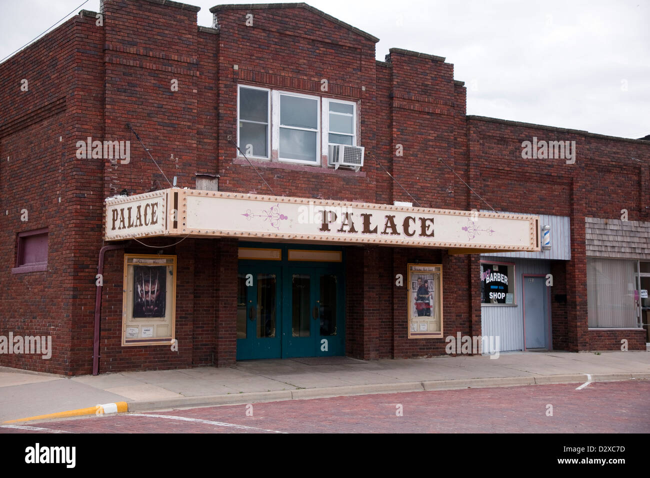 Old theater in a small town in Kansas Stock Photo