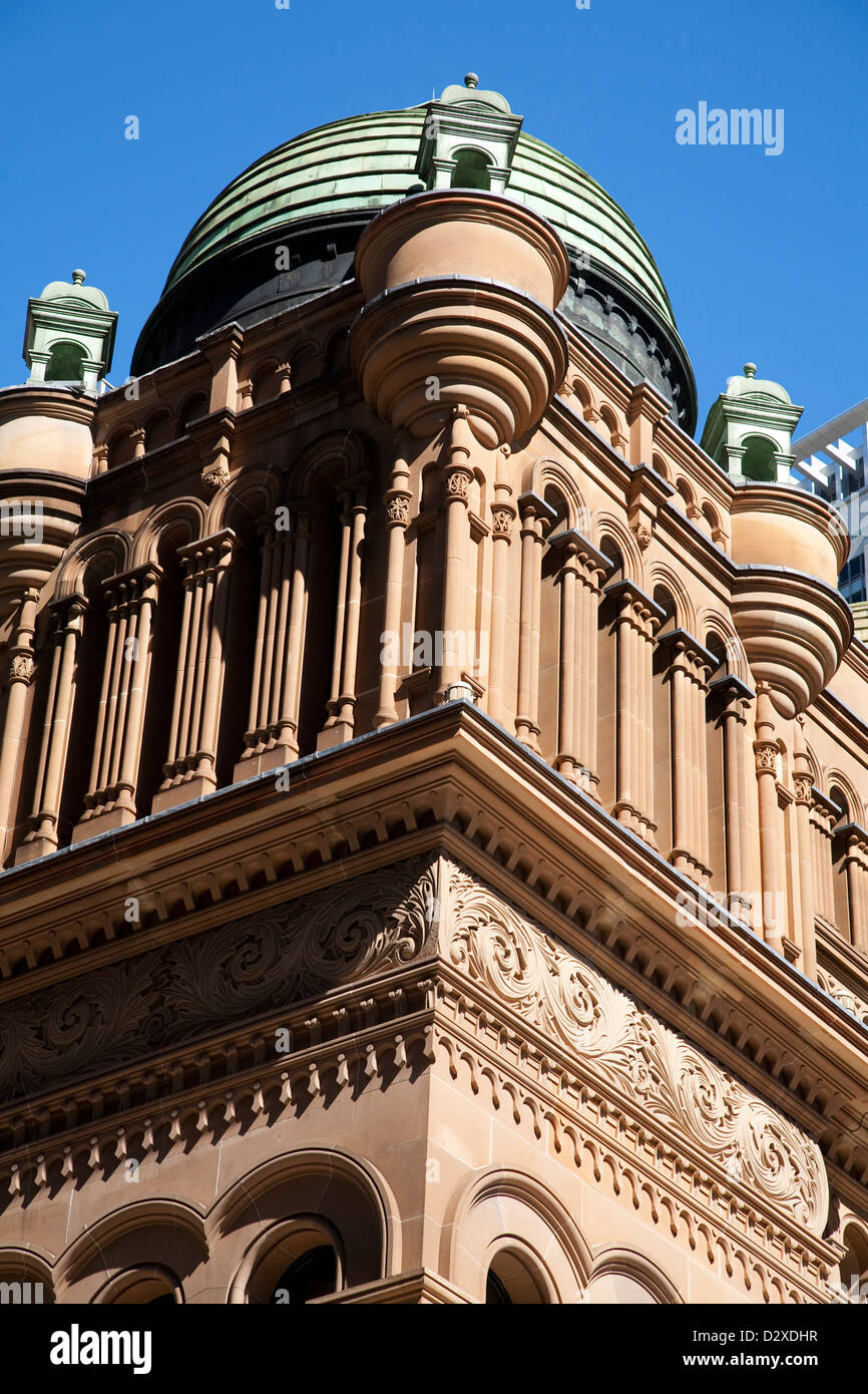 Close up of the architectural details on the side of the Queen Victoria Building Sydney Australia - Stock Image