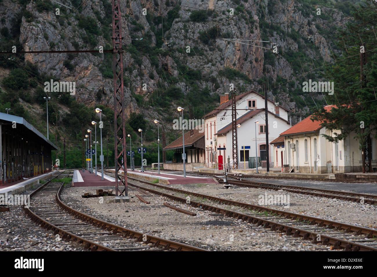 Railway station of Villefranche-de-Conflent. Languedoc, France - Stock Image