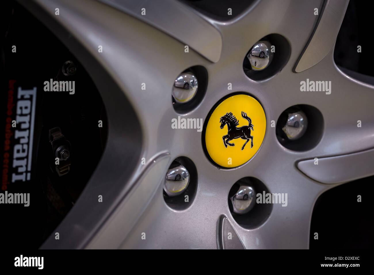 Ferrari logo on silver wheel rim, Moranello, Italy, Europe Stock Photo