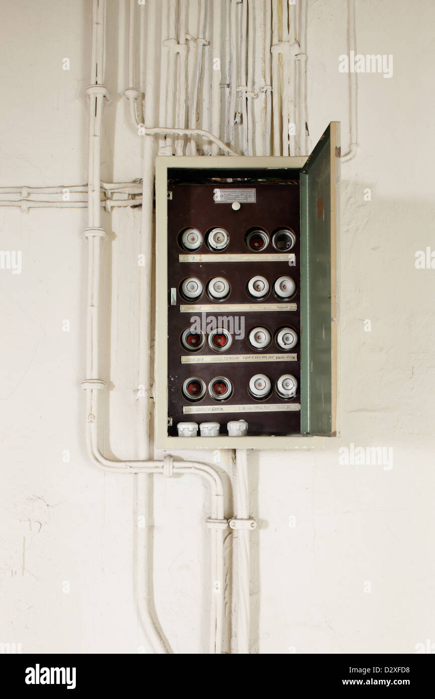 Fuse Boxes From The 1950 Old Fuses Box Stock Photos Images Berlin Germany With And Power Cables Image