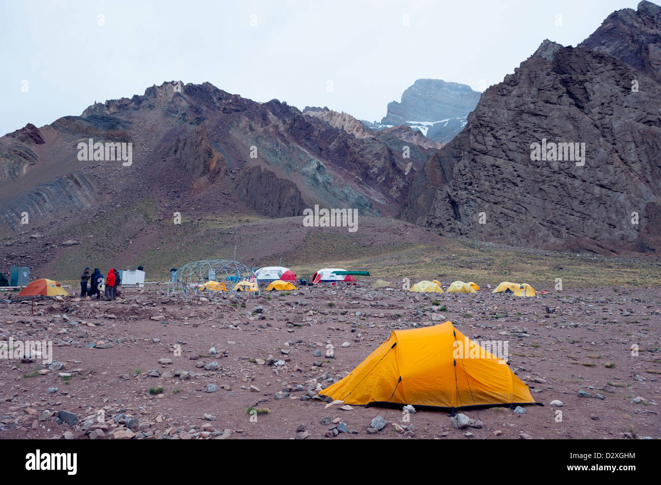 campsite at Confluencia, Aconcagua 6962m, highest peak in South America and outside the himalayas, Aconcagua Provincial - Stock Image
