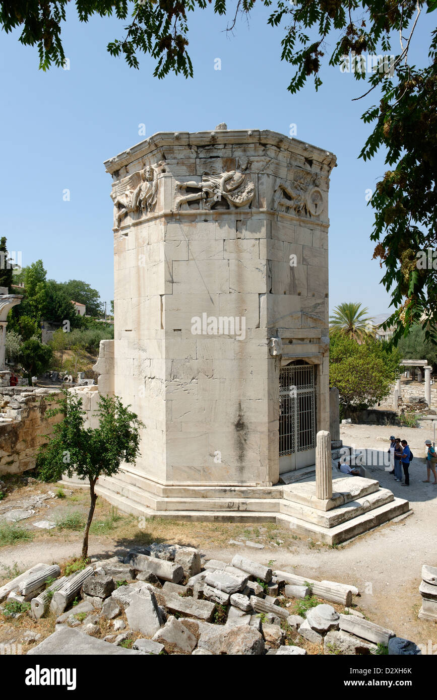 Roman Agora Athens. Greece. The Tower of the Winds, an octagonal hydraulic clock tower built in the 2nd or 1st century Stock Photo