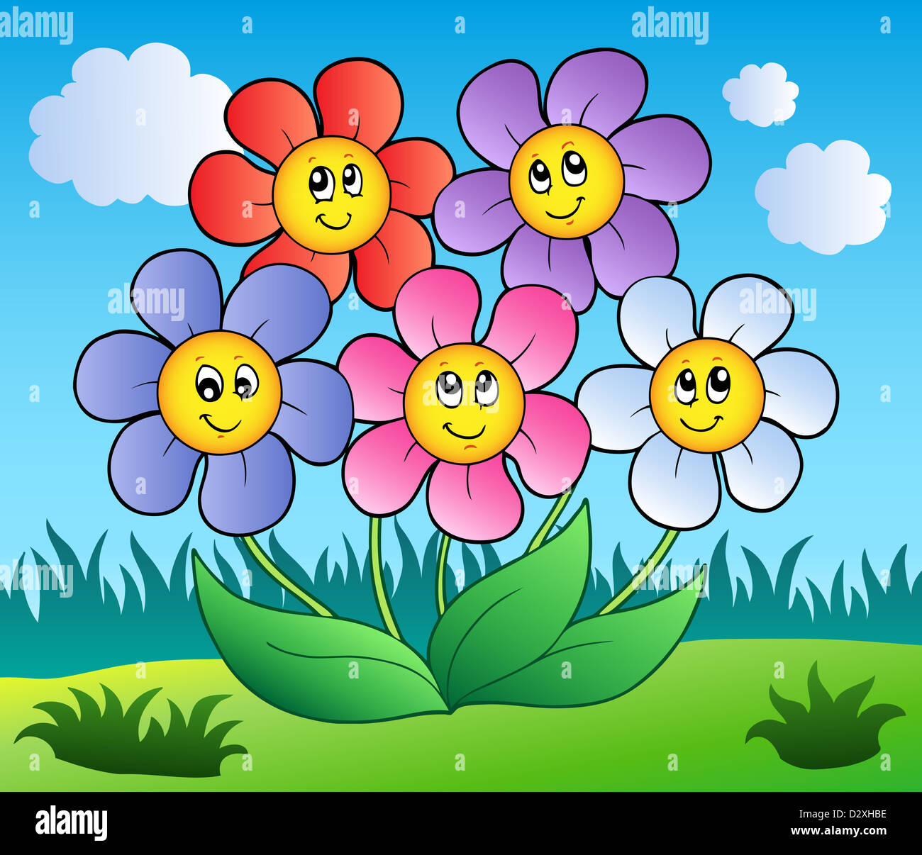 Five Cartoon Flowers On Meadow Color Illustration Stock Photo Alamy