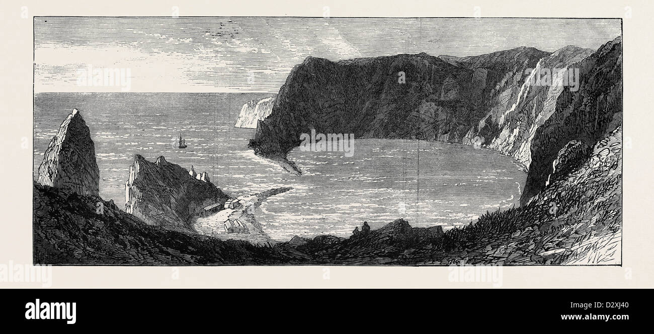 THE ISLAND OF ST. PAUL: THE CRATER 1871 - Stock Image