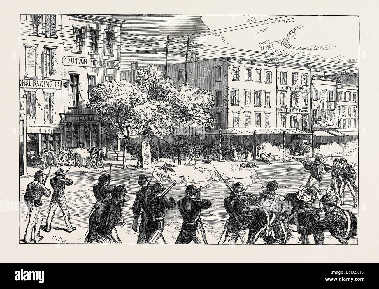 THE IRISH ORANGE RIOTS IN NEW YORK 1871 - Stock Image
