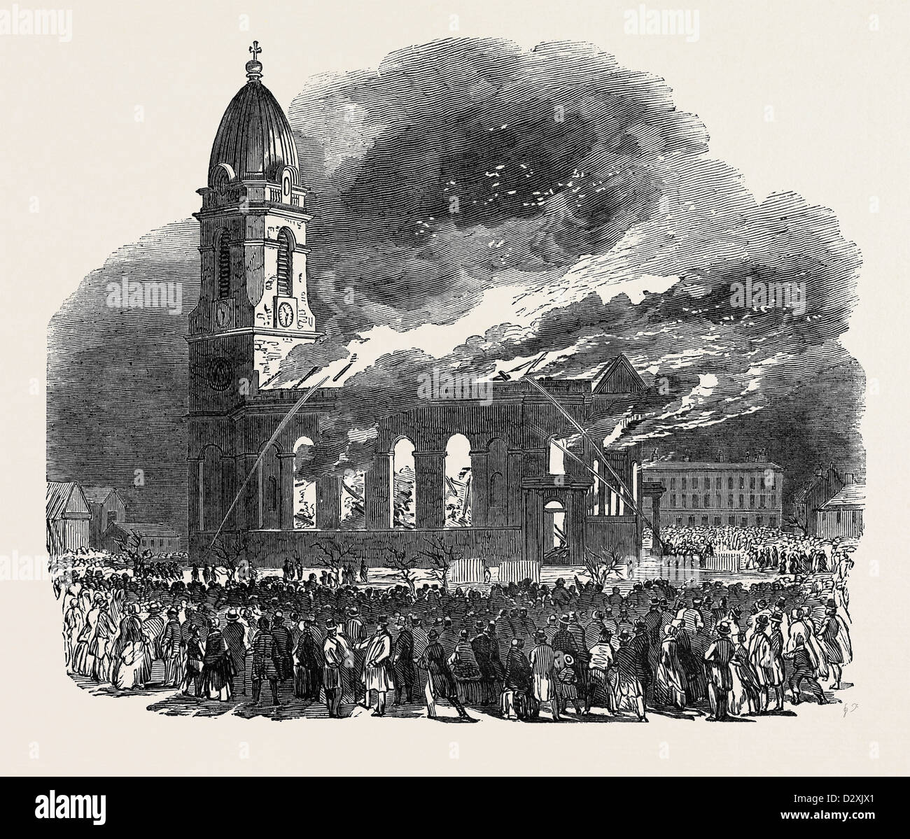 FIRE IN ALL SAINTS CHURCH, AT MANCHESTER - Stock Image