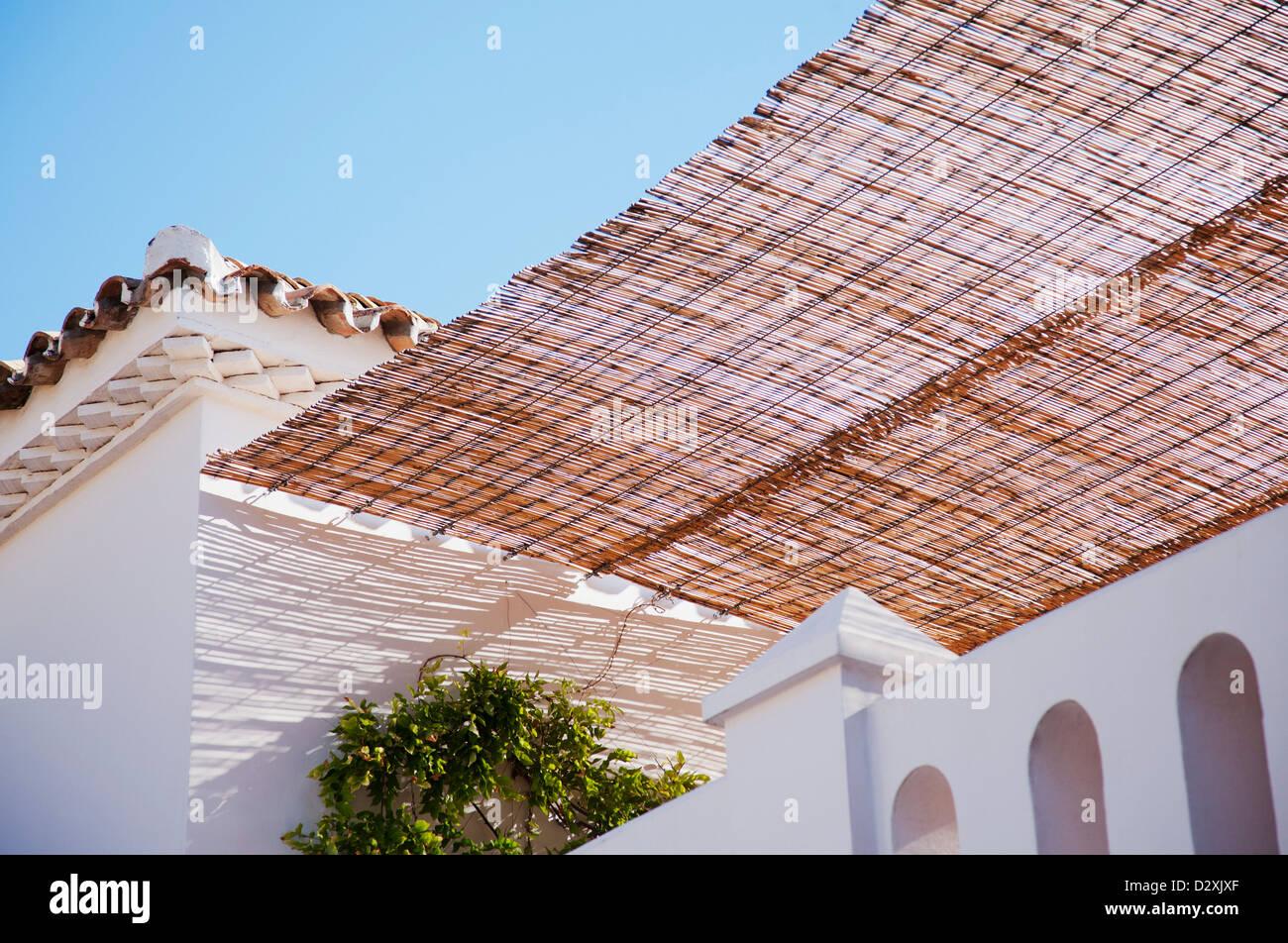 Awning over villa balcony - Stock Image