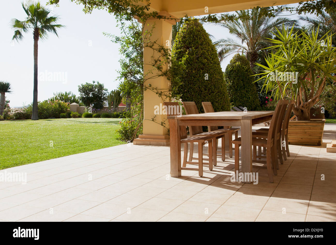 Patio with table - Stock Image