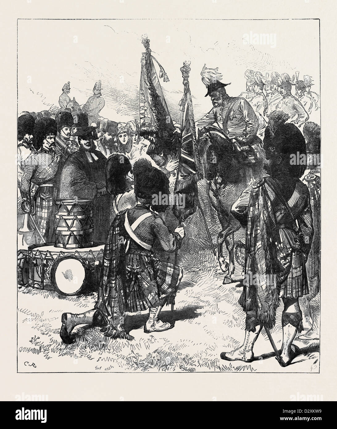 PRESENTATION OF NEW COLOURS TO THE 42ND HIGHLANDERS 1871 - Stock Image