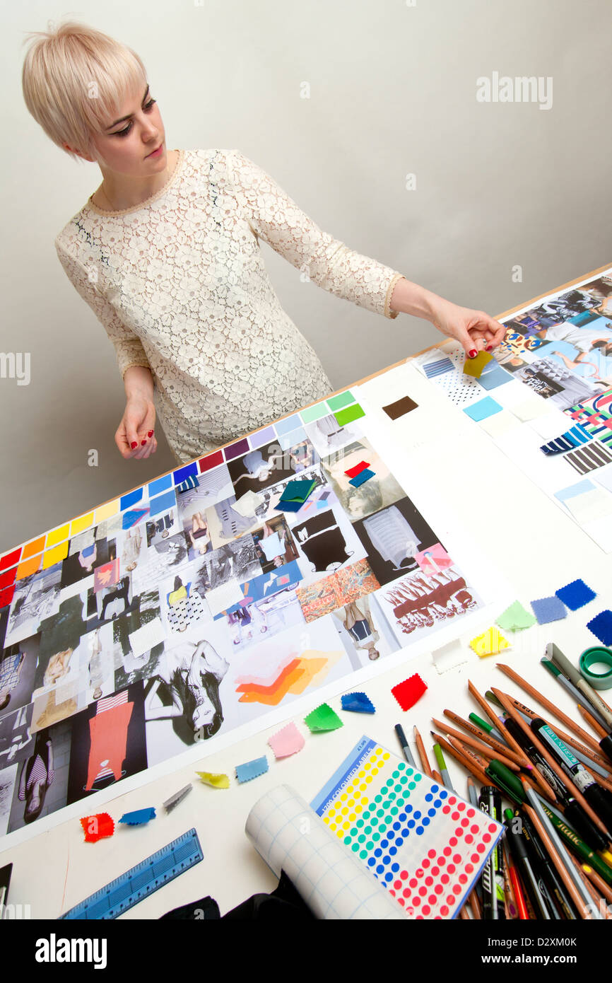 Young Woman Fashion Designer Working On Mood Boards For Her Portfolio Stock Photo Alamy
