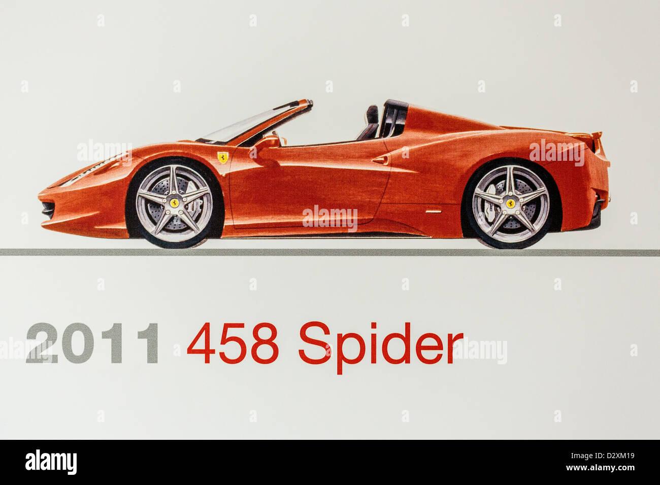 24e164997f1a3 Graphic representation of a 2011 Ferrari 458 Spider, Ferrari Museum,  Maranello, Italy -