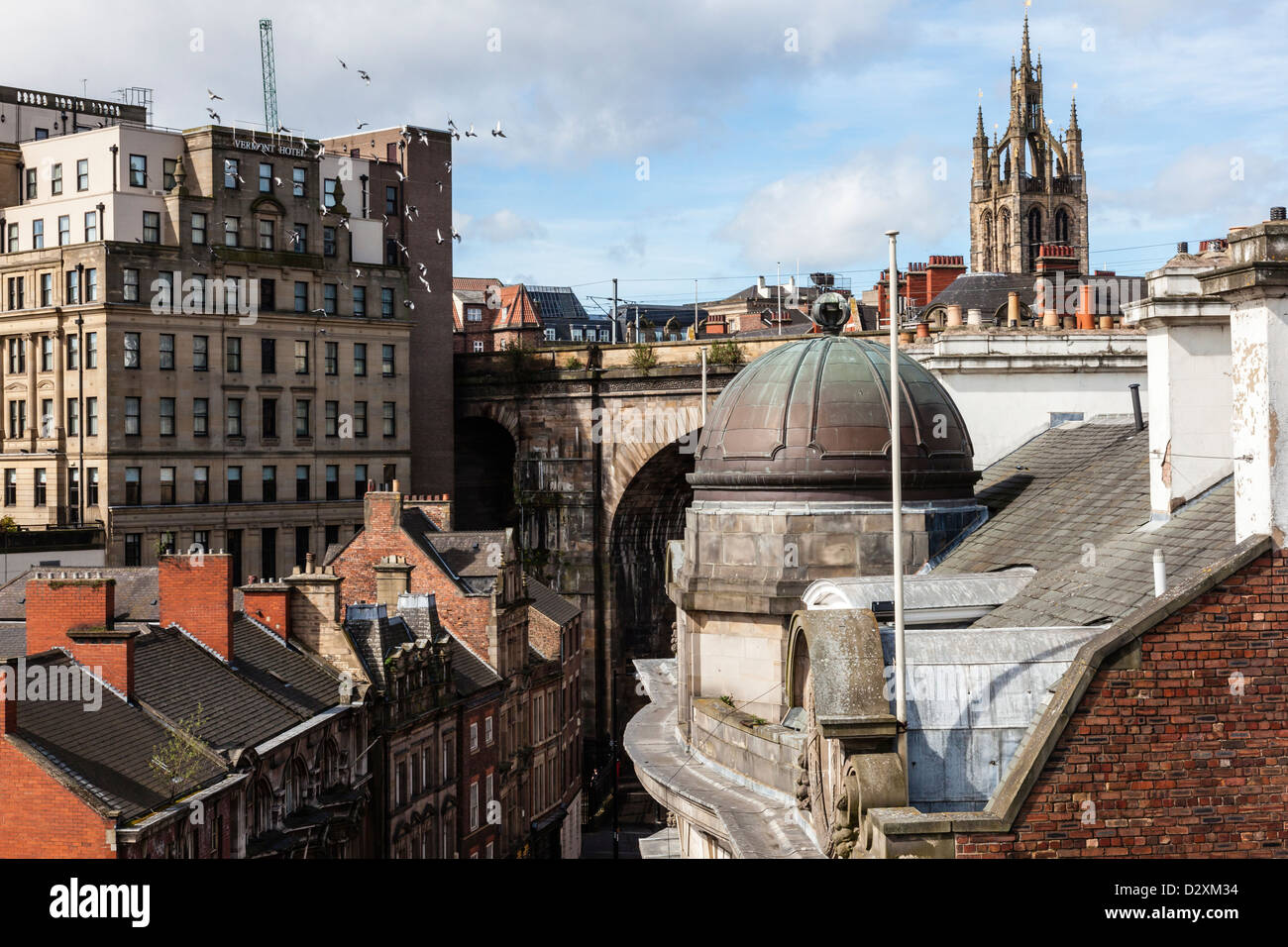 Views from the Tyne Bridge of the rooftops and Quayside and Side areas of Newcastle upon Tyne, Tyne and Wear, UK - Stock Image