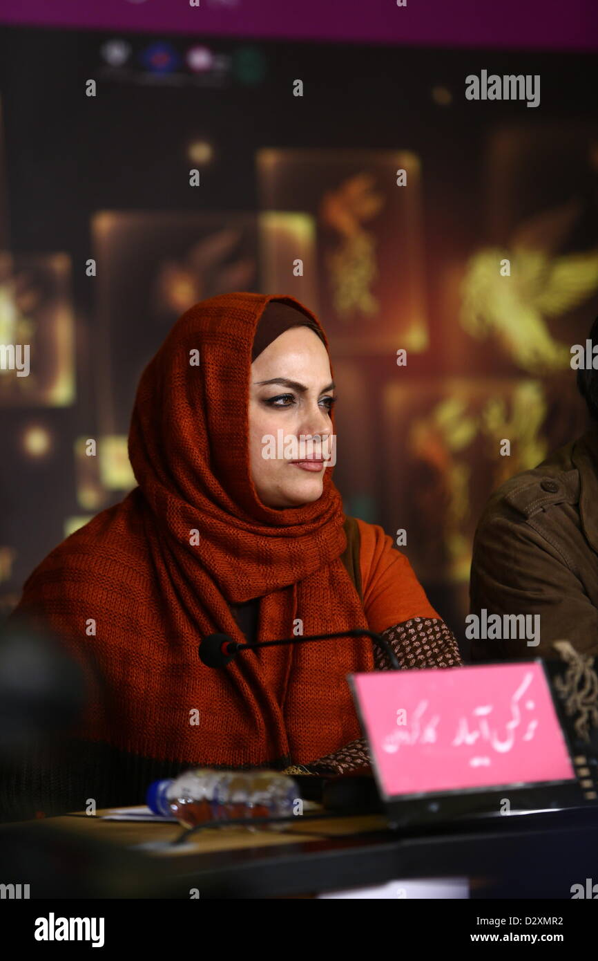 TEHRAN, IRAN: Director Narges Abyr on Day 4 of the 31th International Fajr Film Festival on February 3, 2013 in - Stock Image
