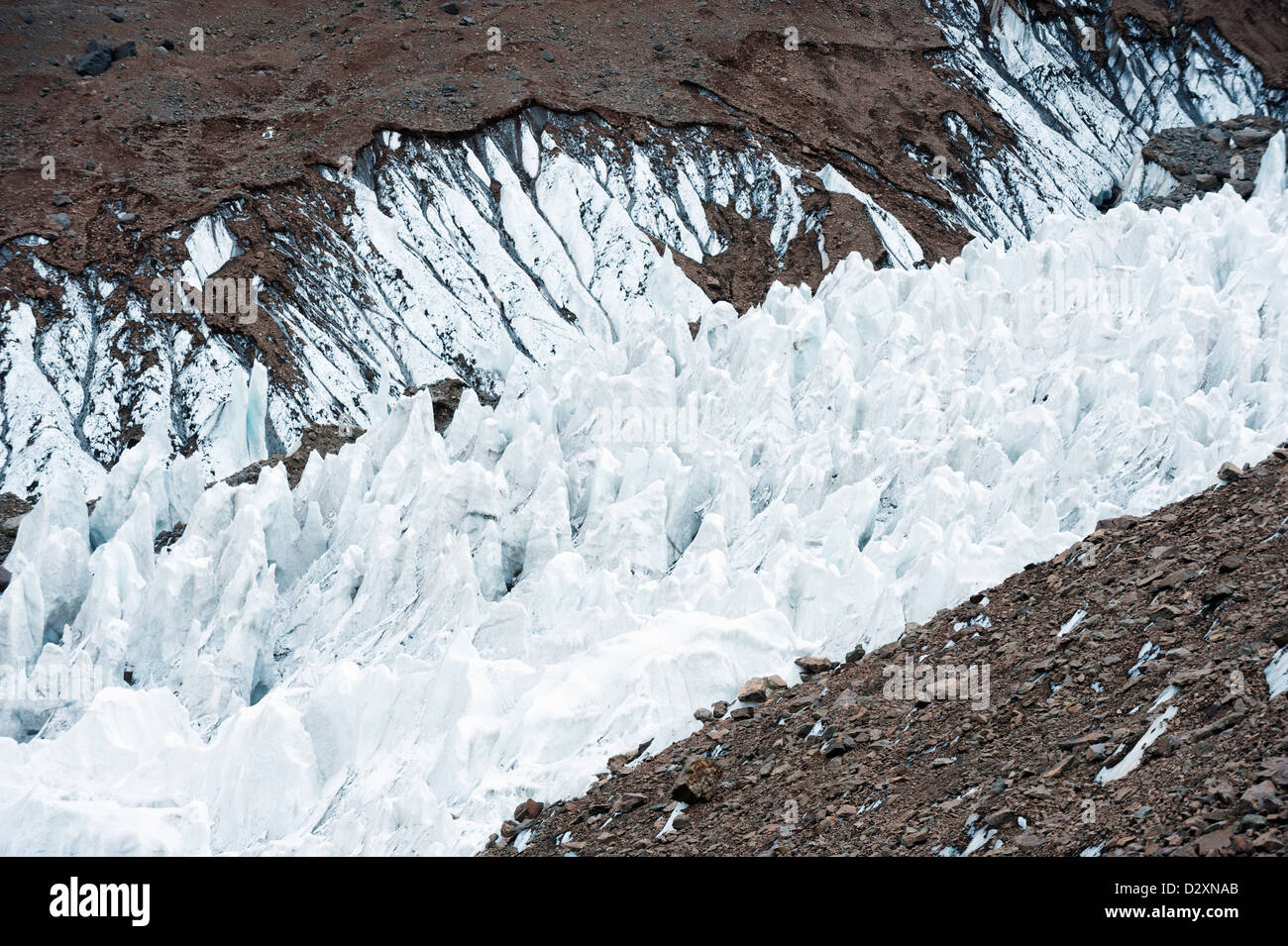 glacier near Plaza de Mulas basecamp, Aconcagua Provincial Park, the Andes mountains, Argentina, South America - Stock Image