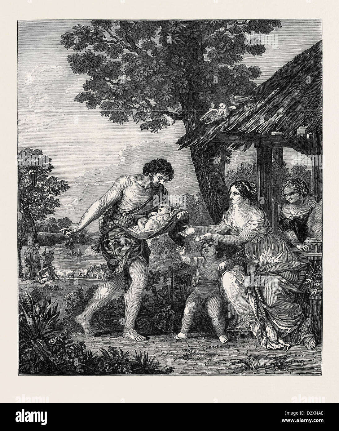 THE FINDING OF ROMULUS AND REMUS FROM THE PICTURE BY PIETRO DA CORTONA - Stock Image
