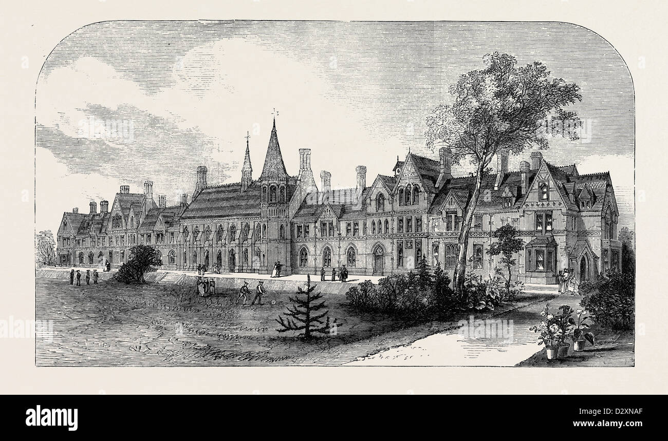THE NEW GRAMMAR SCHOOL AT READING SEPTEMBER 16 1871 - Stock Image
