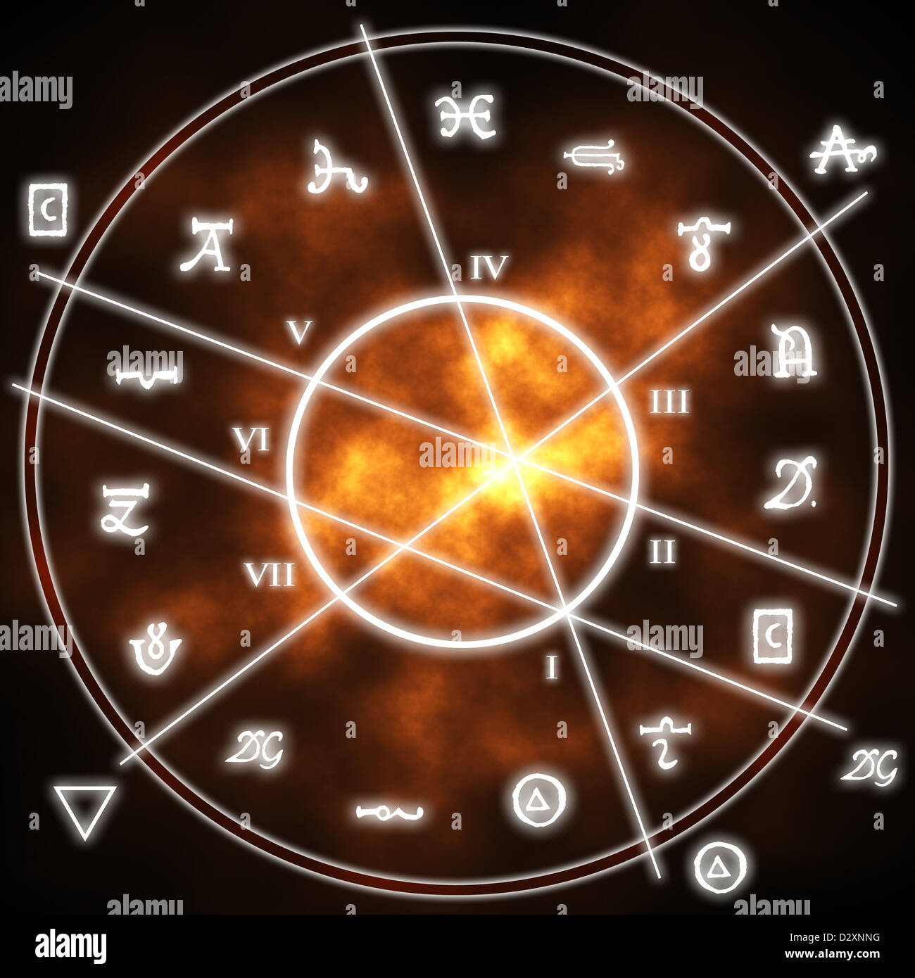alchemy symbols around a circle with numbers and lines - Stock Image