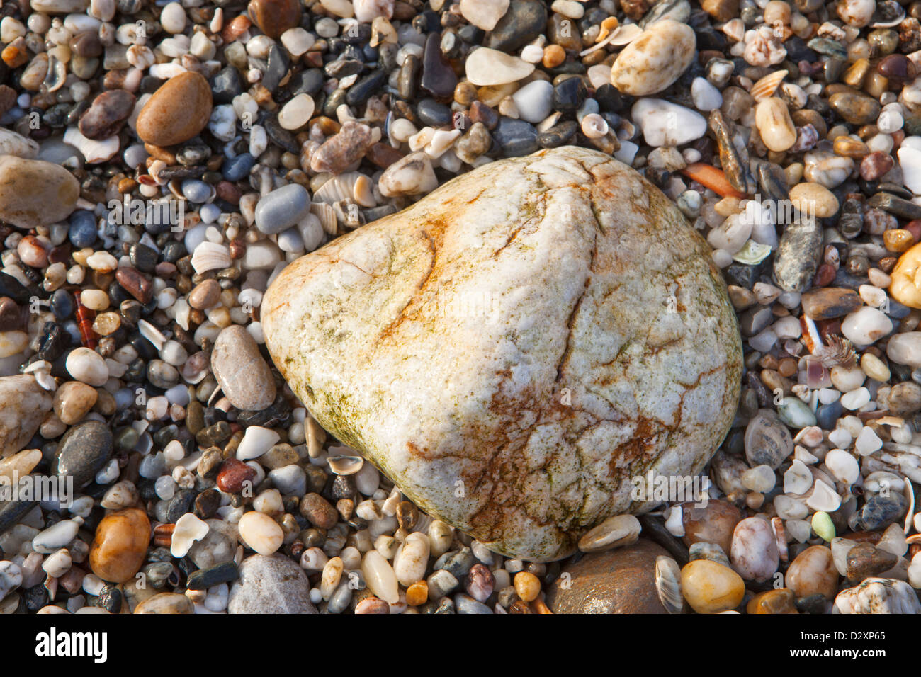 background texture a big white stone  at the beach - Stock Image