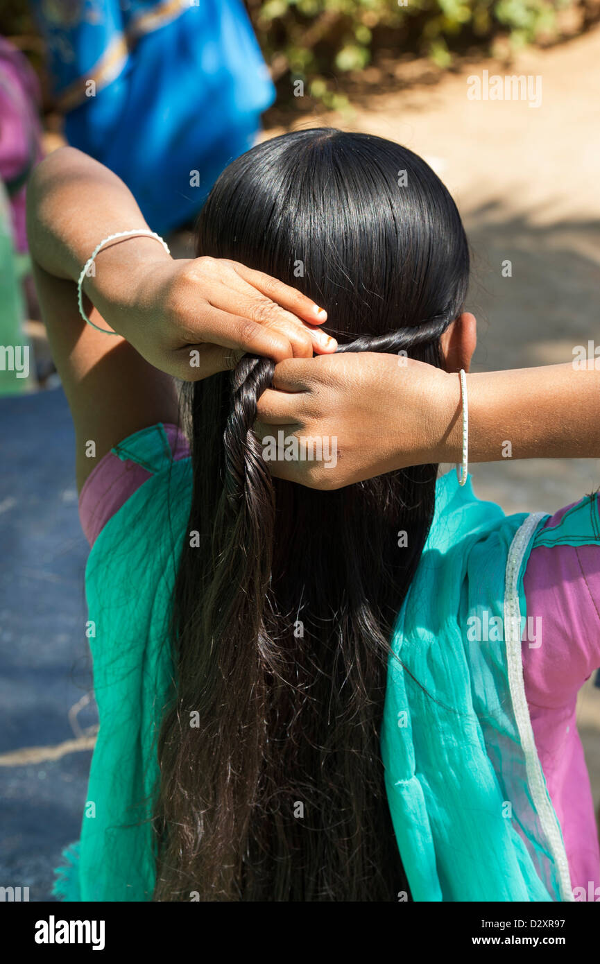 Rural Indian Village Girl Plaiting Her Long Hair Andhra Pradesh