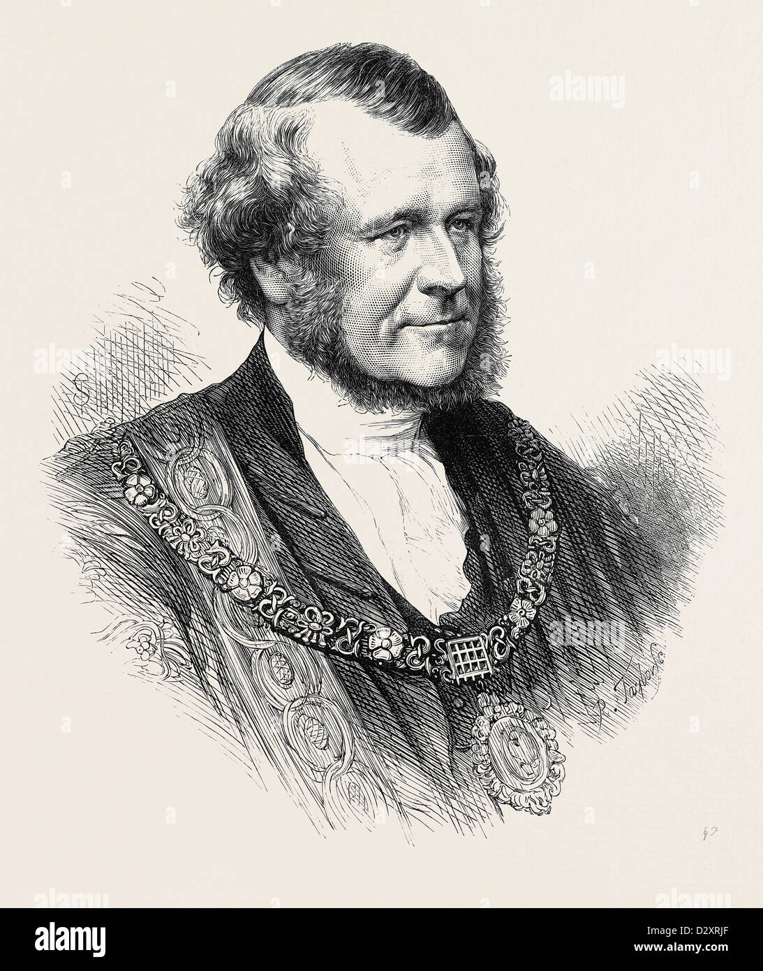 THE RIGHT HON. SILLS JOHN GIBBONS THE NEW LORD MAYOR OF LONDON 1871 - Stock Image